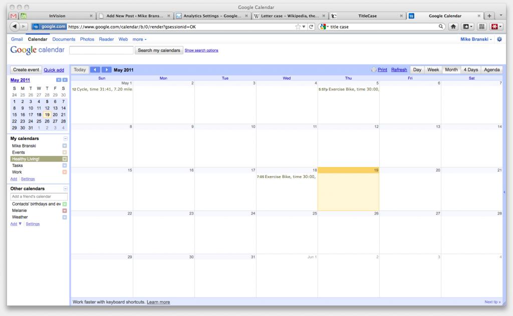 Workouts on Google Calendar